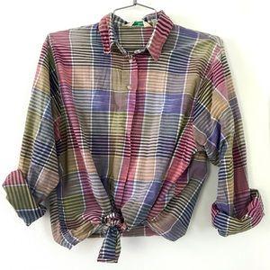 Vintage 1980's L.L. Bean plaid button down shirt